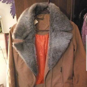 NWT Womens suede jacket with fur
